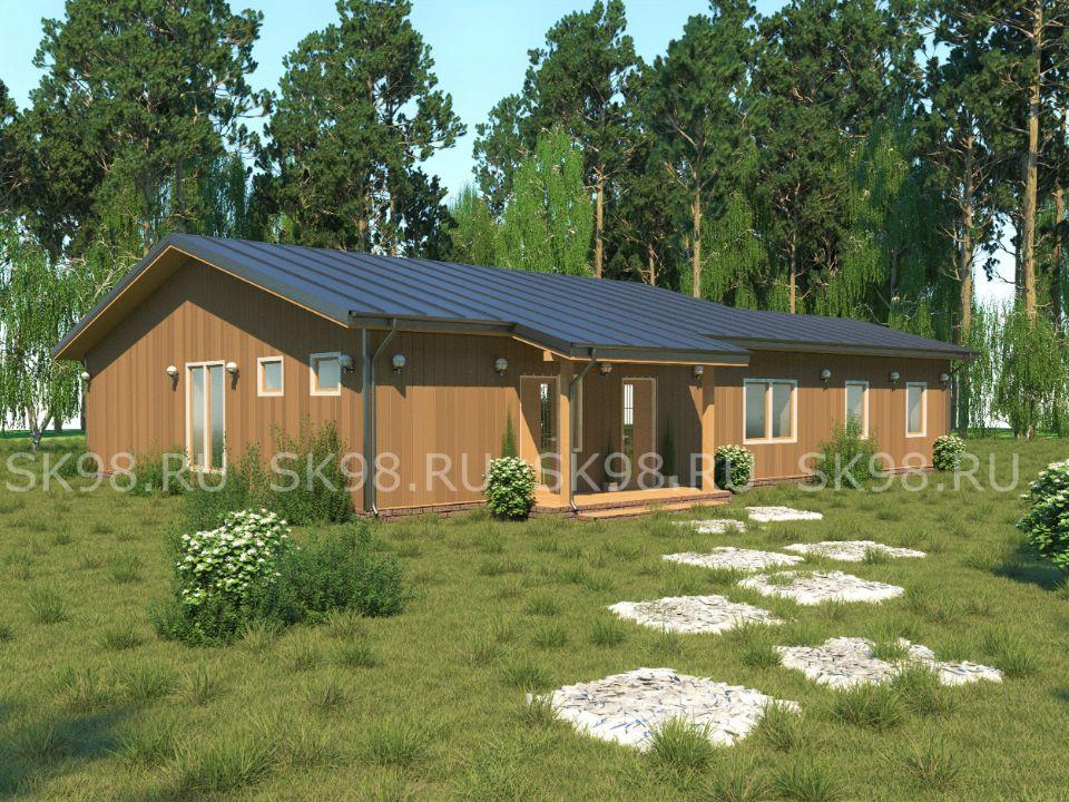 проект одноэтажного дома с баней - ONE 134