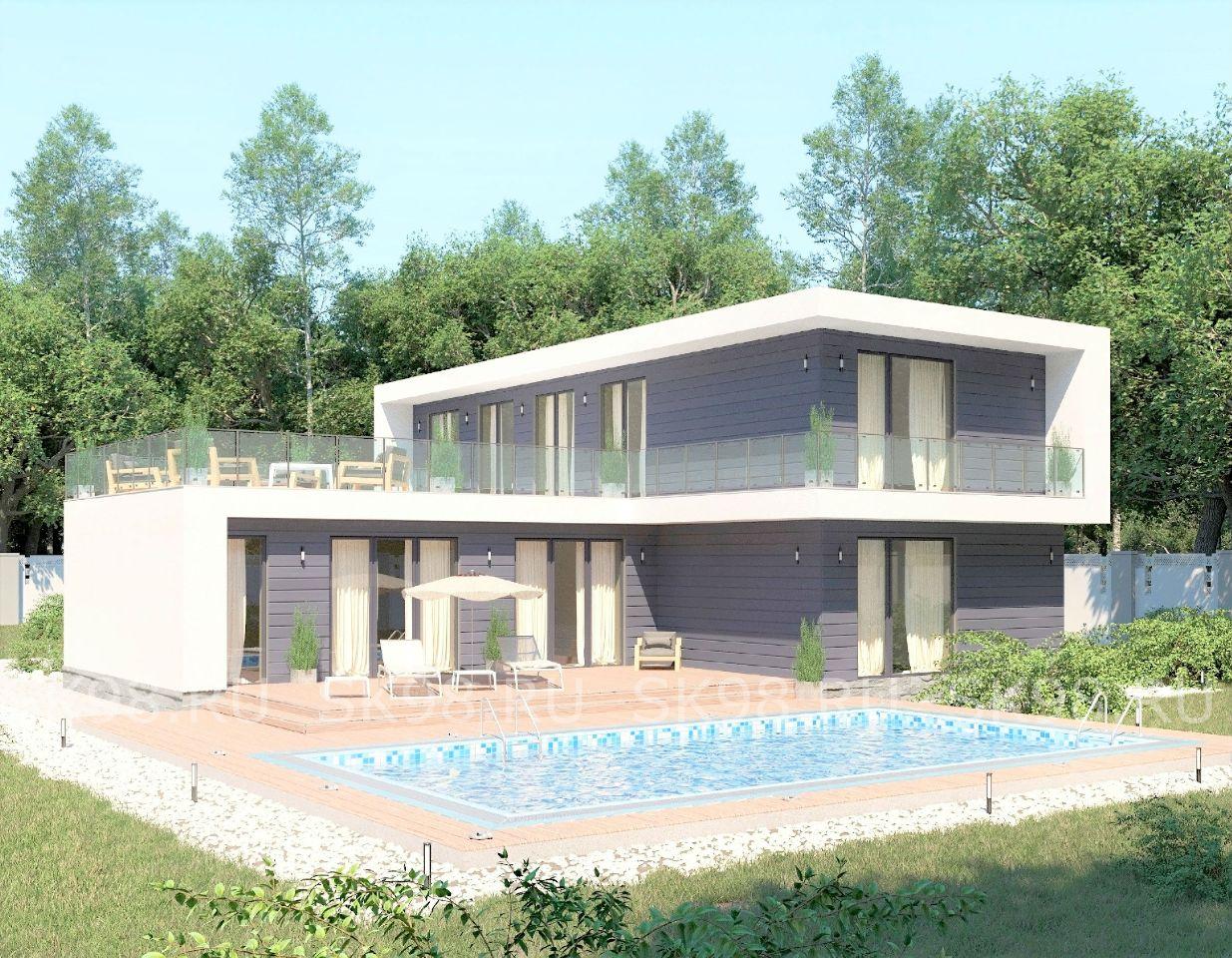 проект дома с плоской крышей - TWO 204