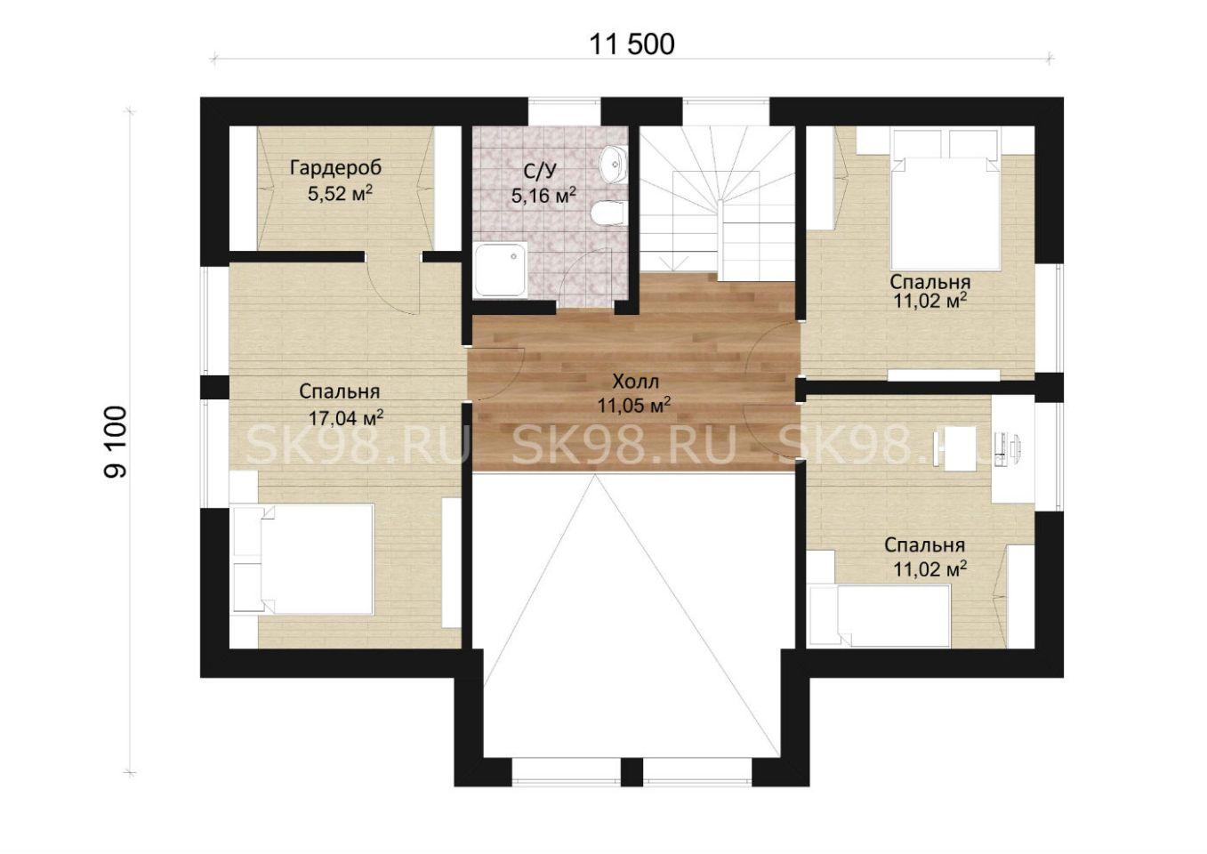 планировка второго этажа двухэтажного дома - 207 м²