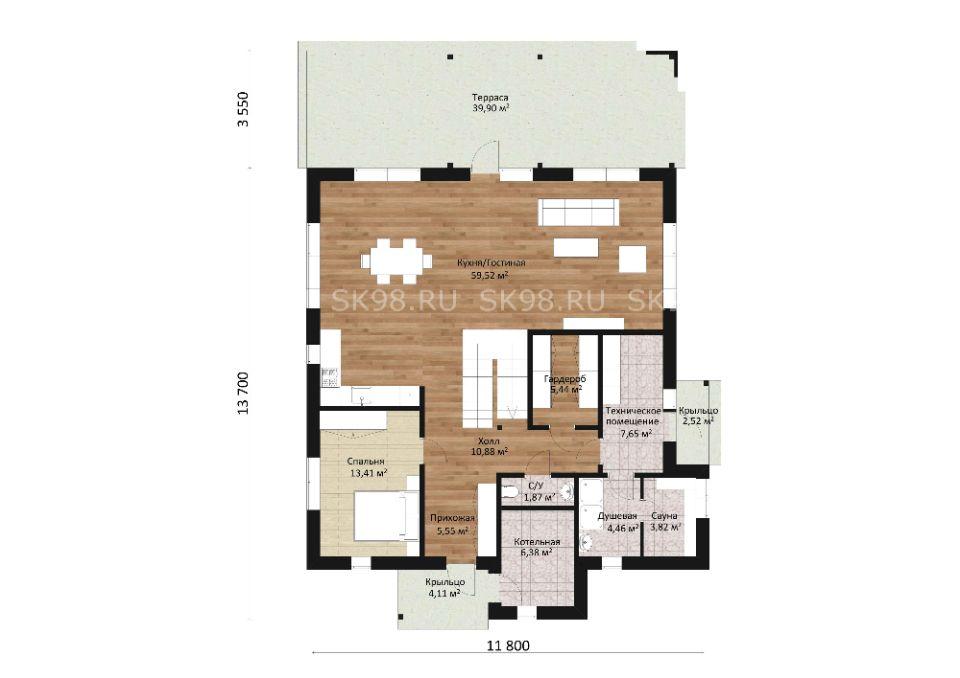 дом с мансардой и вторым светом TWO 185 планировка первого этажа