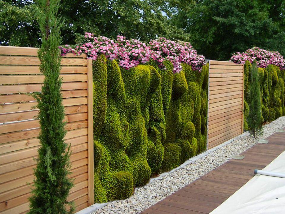 забор из дерева с цветами