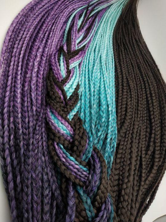 Микс коричневых, фиолетовых с сереневым и бирюзово - мятных кос.