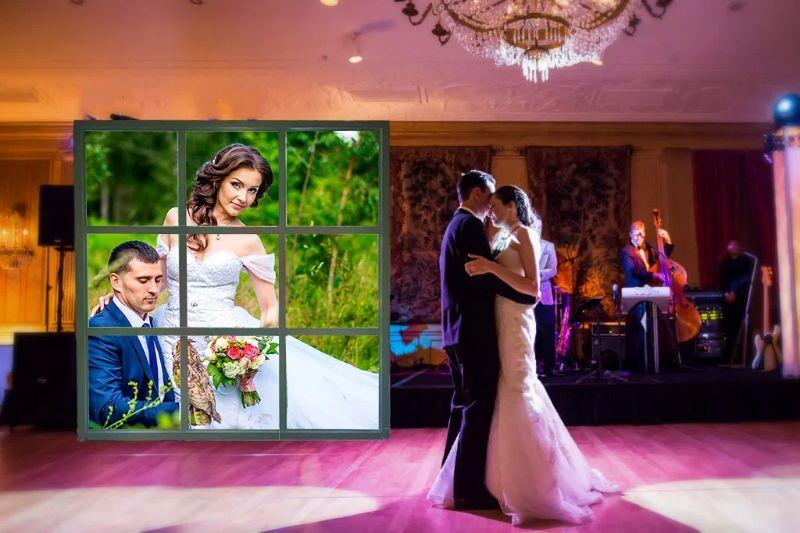 Лайт Волл, яркий пресс волл с подсветкой на свадьбу. Оформление свадьбы, недорого, креативно.