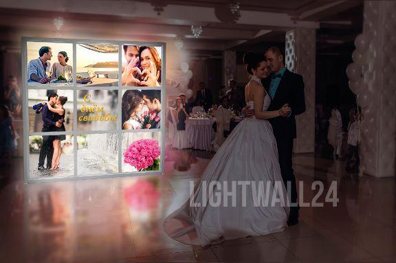Лайт Волл, светящийся Пресс волл на свадьбу, вариант 3