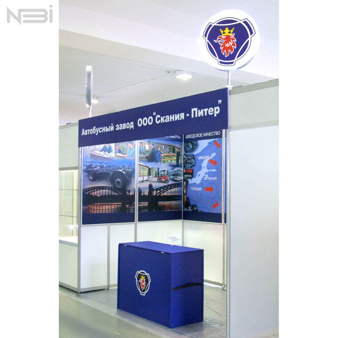 Разработка выставочного стенда и промо-стойка для компании Scania. Рекламное агентство НБИ.