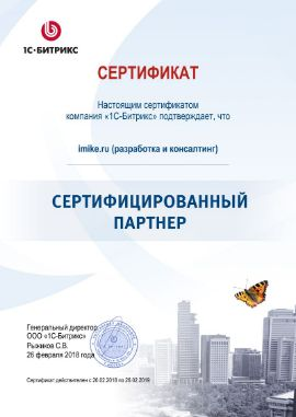 Сахоненко Михаил Юрьевич сертификат Bitrix / Битрикс