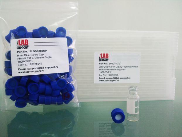 Навинчивающиеся крышки с септой с прорезью PTFE/силикон для виал 2 мл, диаметром 9 мм