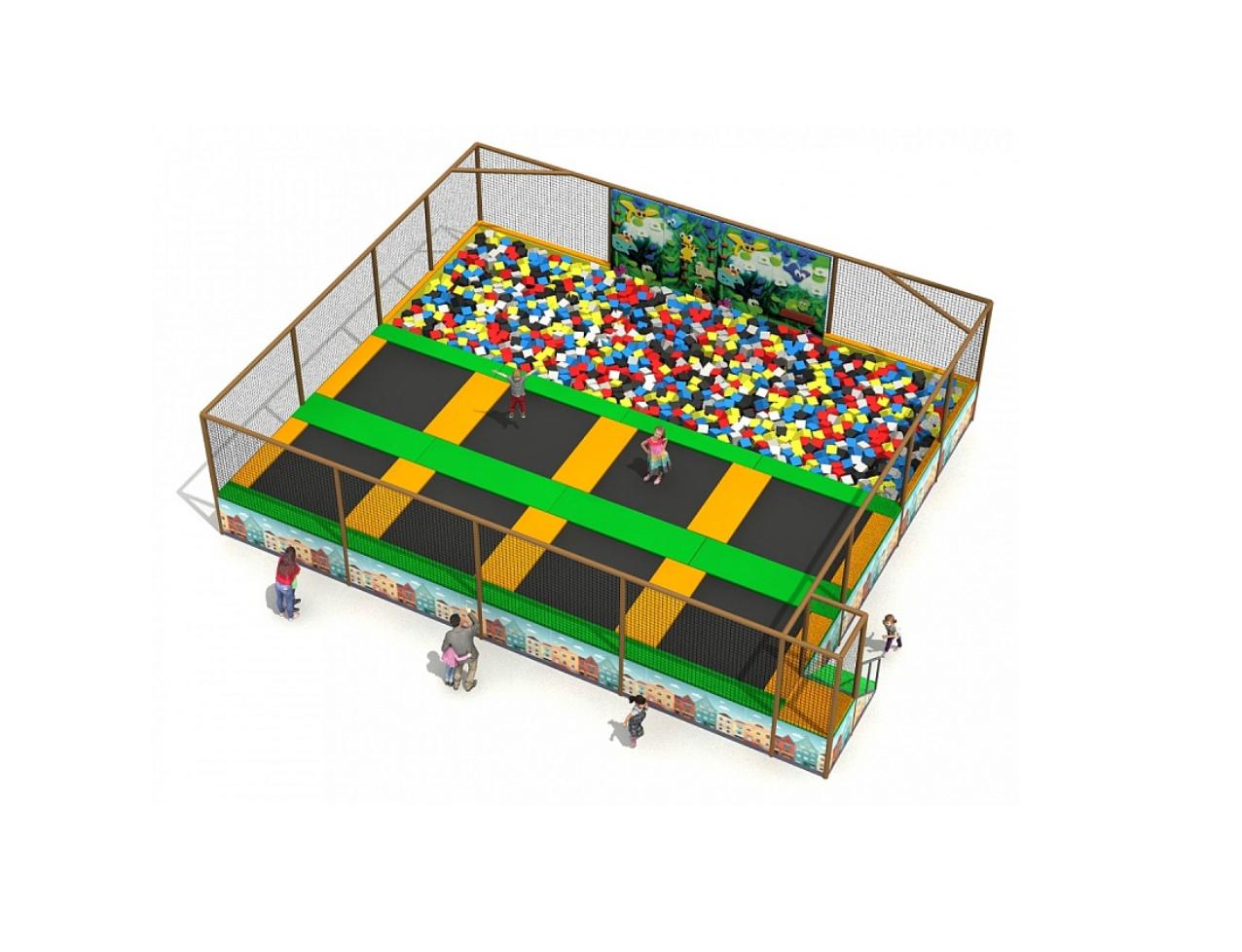 Прыжковый комплекс батут 8 секций с поролоновой ямой