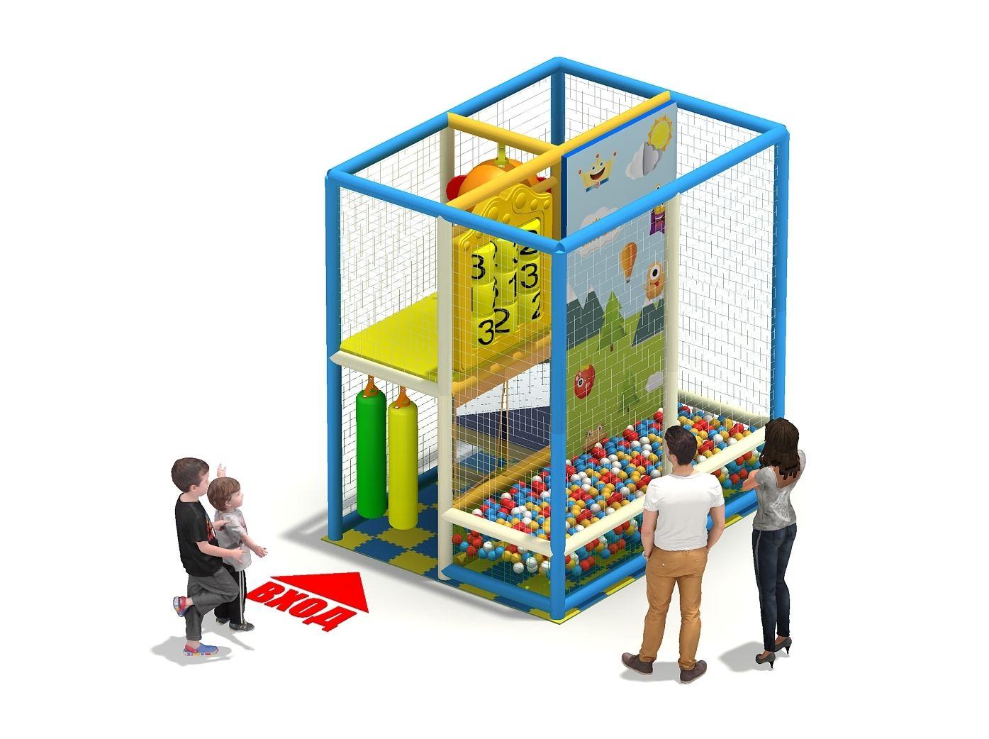 Игровой лабиринт с бассейном и скалолазкой