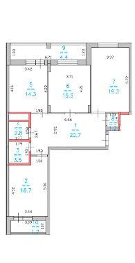 3 комнатная планировка Лысогорская ЖК Дом за Лентой на Родионова ЖК Монолит 2 лоджии