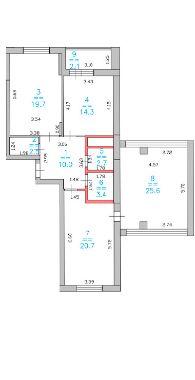 3 комнатная планировка Лысогорская ЖК Дом за Лентой на Родионова ЖК Монолит с проходной гостинной