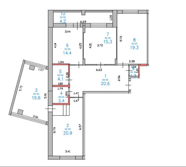 4 комнатная планировка Лысогорская ЖК Дом за Лентой на Родионова ЖК Монолит 123 м2