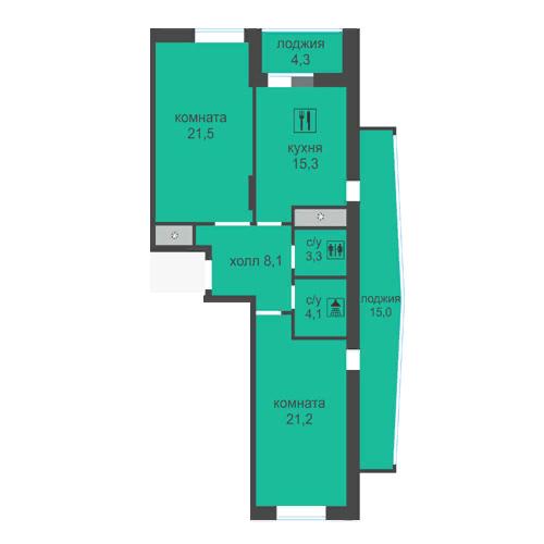 2 комнатная Лысогорская ЖК Дом за Лентой на Родионова ЖК Монолит 92 м2 большая лоджия