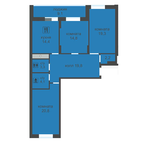 Большая 3 комнатная Лысогорская ЖК Дом за Лентой на Родионова ЖК Монолит 107 м2