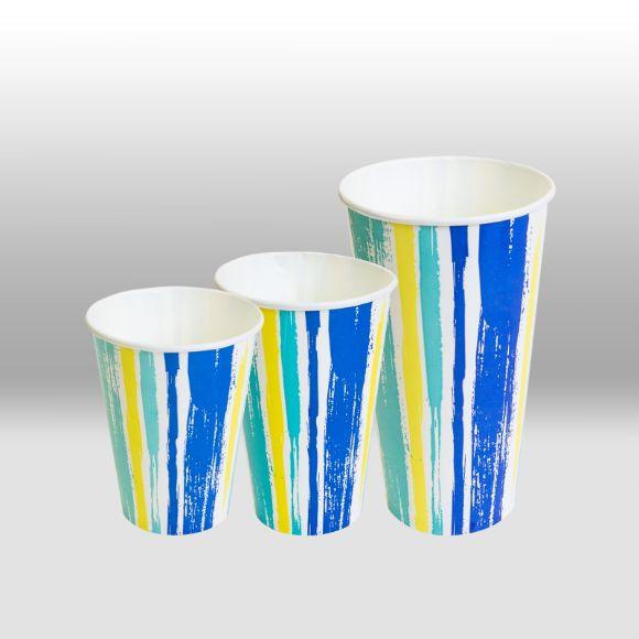 Однослойные бумажные стаканы для холодных напитков Полоски