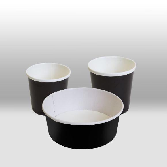 Черные бумажные контейнеры с круглым дном