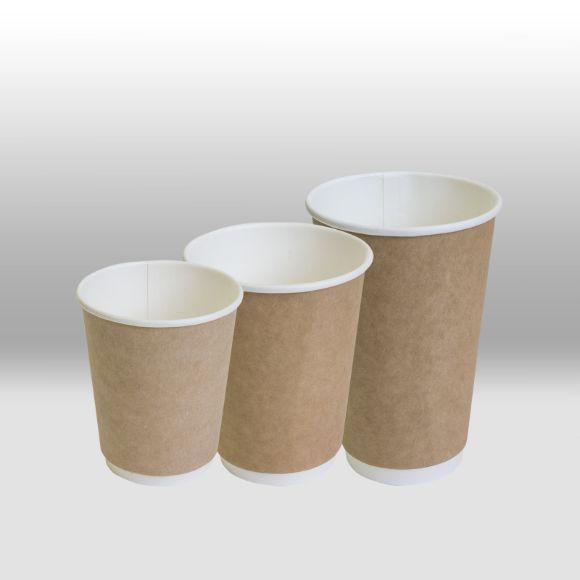 Двухслойный бумажный стакан ThermoCup крафт для горячих напитков