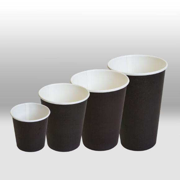 Черные однослойные бумажные стаканы для горячих и холодных напитков