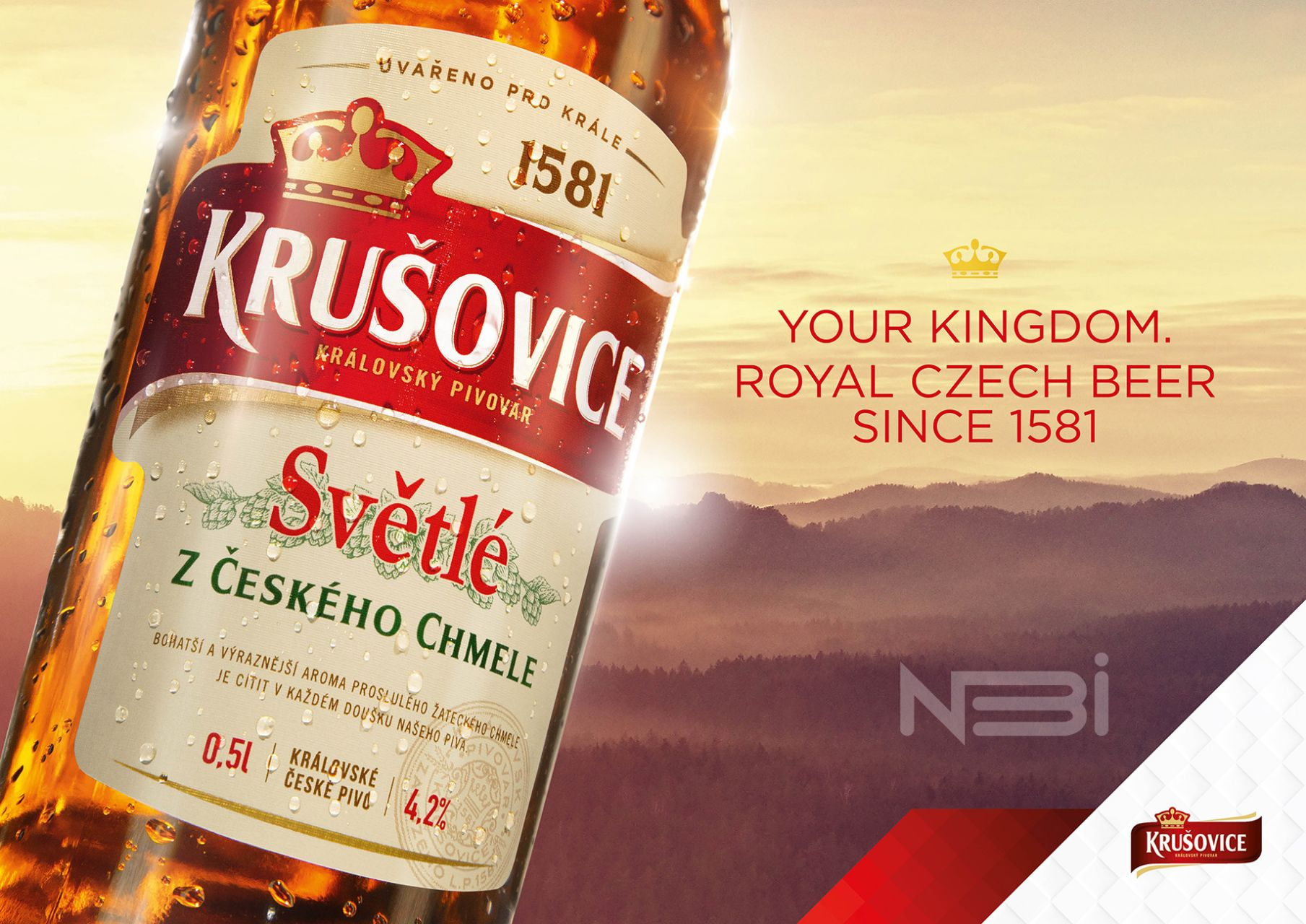 Рекламная фотография бутылки Krusovice для Key Visual