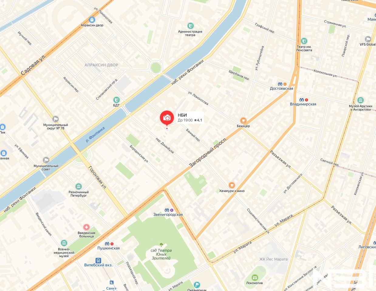 Фотостудия НБИ на карте Санкт-Петербурга