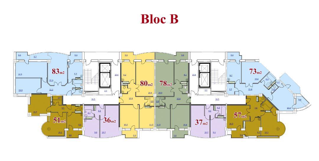 Vedere planica a etajului blocul B cu 2 scari. 13 etaje