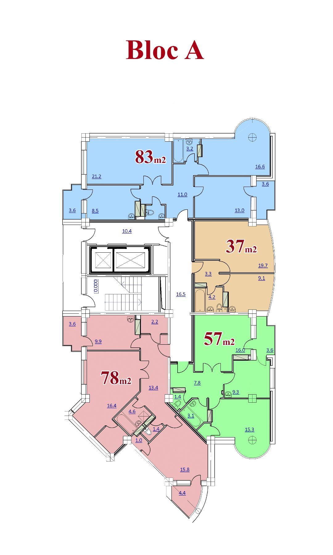 Vedere planica etaj bloc A, 17 etaje