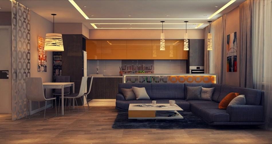 совмещение кухни с гостиной в интерьере