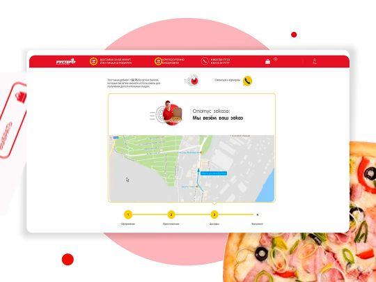 Сайт сети пиццерий Рустерс