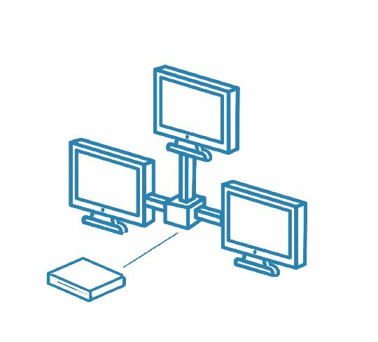 Локальная сеть (ЛВС)/компьютерная сеть на три точки подключения