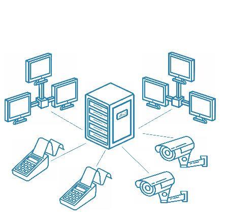Локальная сеть (ЛВС)/компьютерная сеть на десять точек подключения, коммутационный шкаф