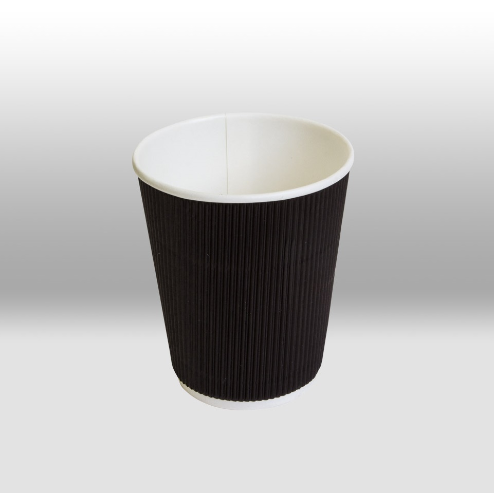 "Black Ripple Paper Cups for hot Beverages ""TwistCup"" by Papperskopp"