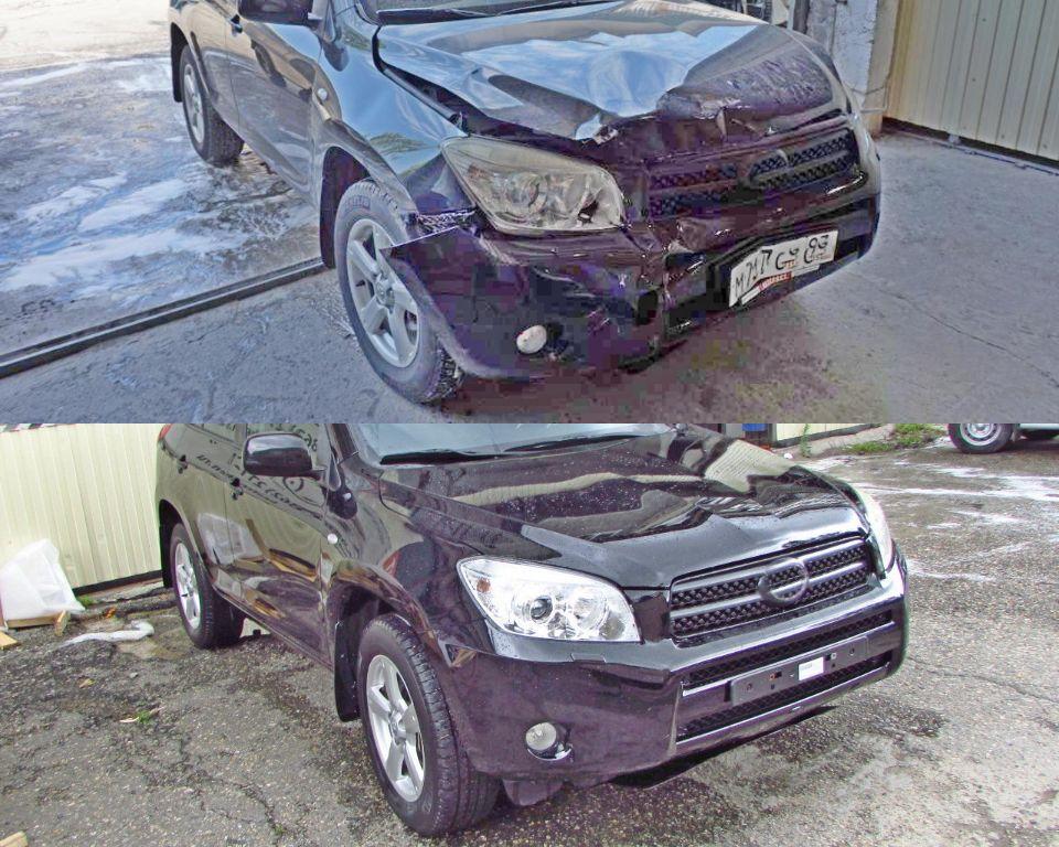 Toyota RAV4 Кузовной ремонт и покраска после сильного удара в переднюю часть.