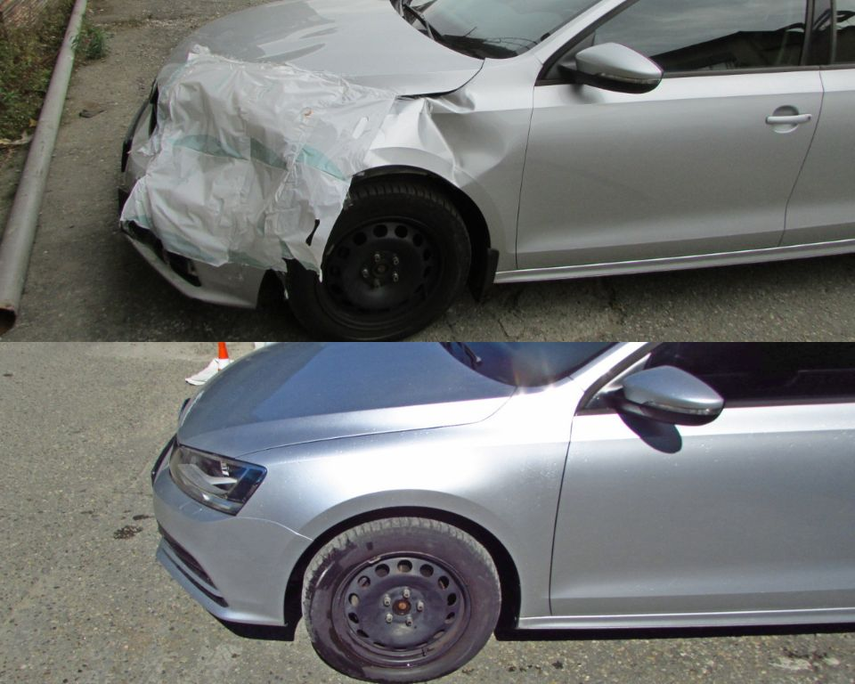 VW Jetta Кузовной ремонт покраска после удара в переднюю левую часть