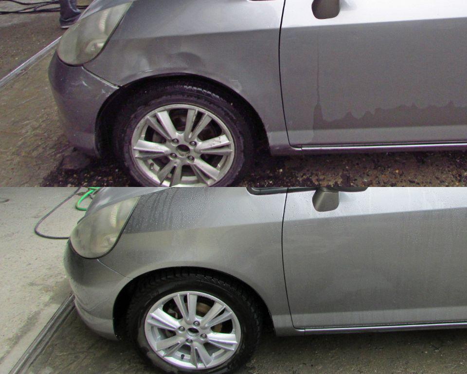 Honda Fit Кузовной ремонт и покраска крыла и переднего бампера