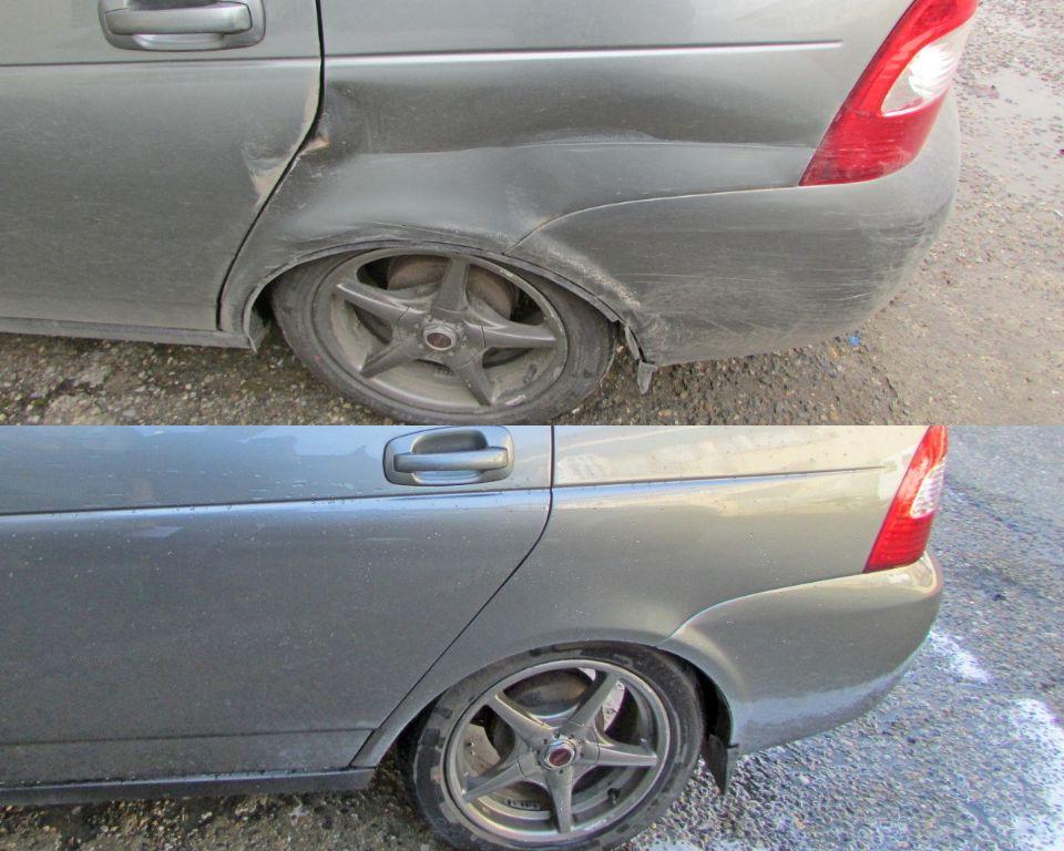 Lada Kalina Кузовной ремонт и покраска крыла заднего и двери