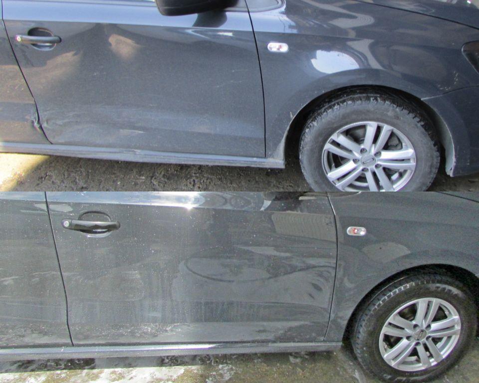 VW Polo Кузовной ремонт и окраска правых дверей