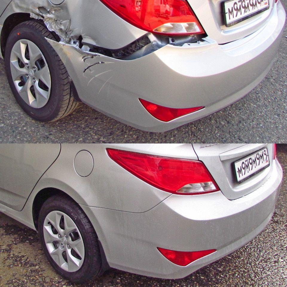Hyudai Sonata Кузовной ремонт (замена) и покраска заднего крыла и бампера