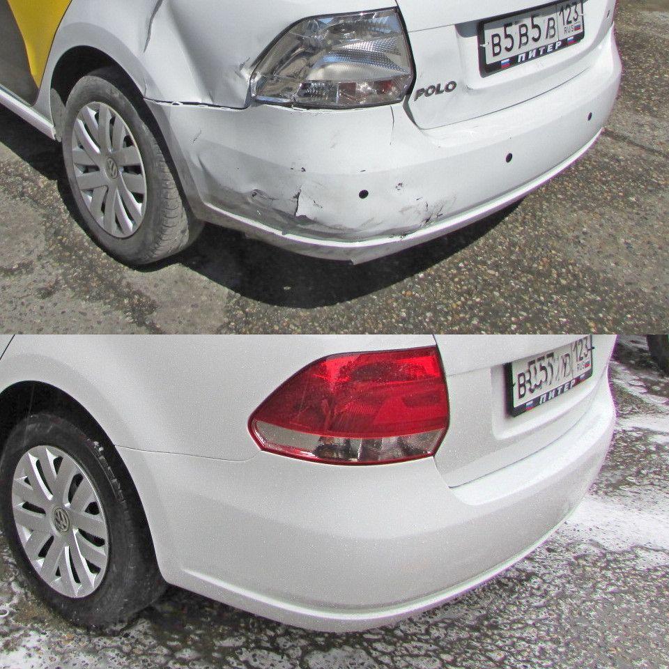 VW Polo Кузовной ремонт и окраска заднего крыла, бампера, крышки багажника. Замена фонаря.