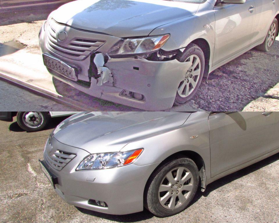 Toyota Camry Кузовной ремонт и окраска после удара в переднюю левую часть