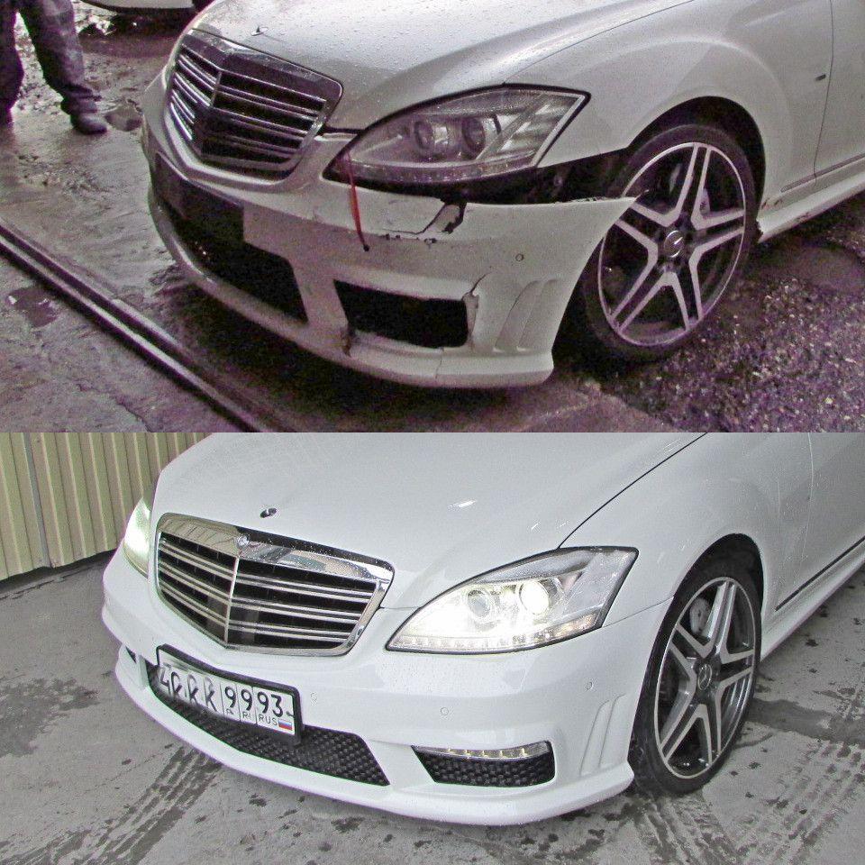 Mercedes S-class Кузовной ремонт и покраска после удара в переднюю левую часть