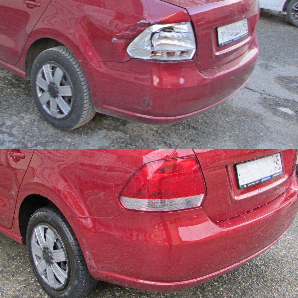 VW Polo Sedan Кузовной ремонт крыла заднего и покраска крыла и бампера, замена фонаря