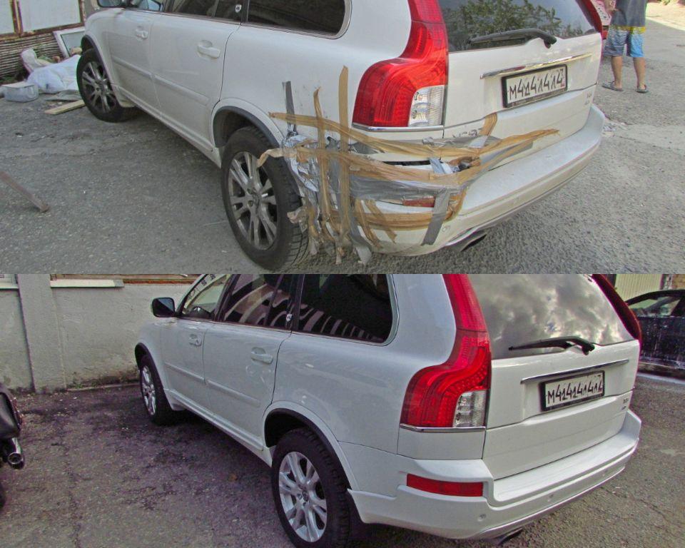 Volvo XC90 Кузовной ремонт и покраска заднего бампера и крыла