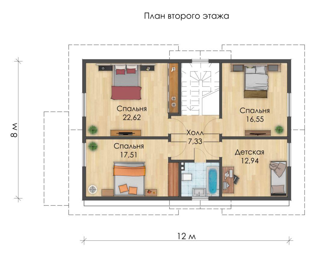 Проект каркасного дома из ЛСТК. Кыргызстан. KARKAS.KG