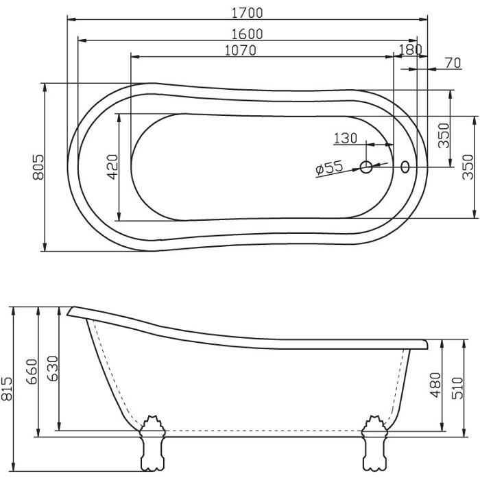 картинка Акриловая ванна BelBagno BB04-Crm 170x80.5 от магазина Одежда+