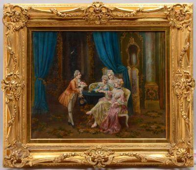 """картинка Антикварная картина """"Галантный кавалер и дамы"""" от магазина Одежда+"""