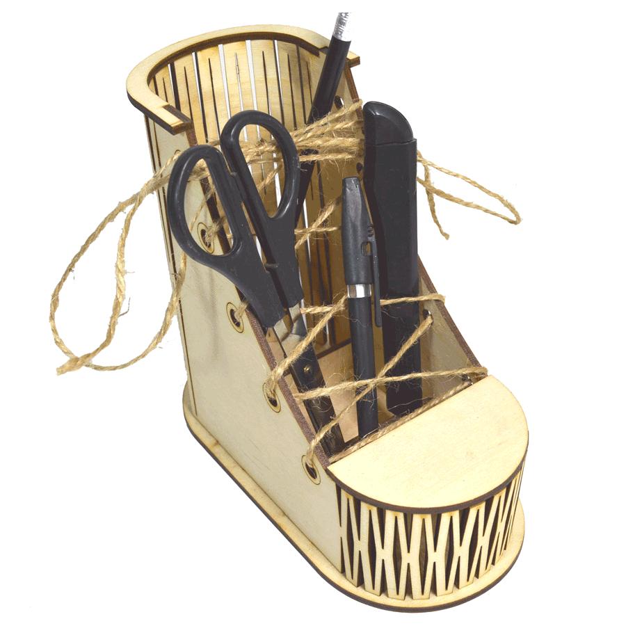 """картинка Органайзер настольный """"Башмак"""", арт. Ф00029 - подарки и декор из дерева - подереву.рф"""