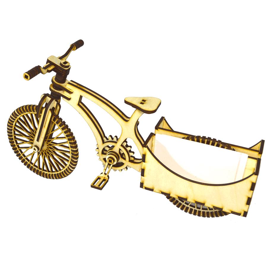 """картинка Визитница """"Велосипед"""", арт. Ф00031 - подарки и декор из дерева - подереву.рф"""