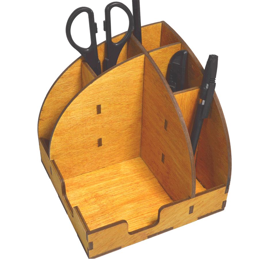 картинка Органайзер настольный полукруглый, арт. Ф00030 - подарки и декор из дерева - подереву.рф