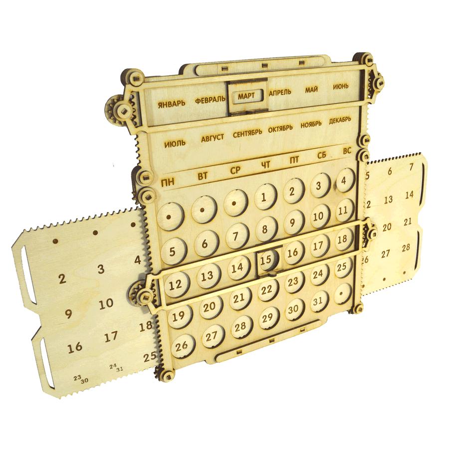 картинка Вечный календарь механический, арт. Ф00077 - подарки и декор из дерева - подереву.рф
