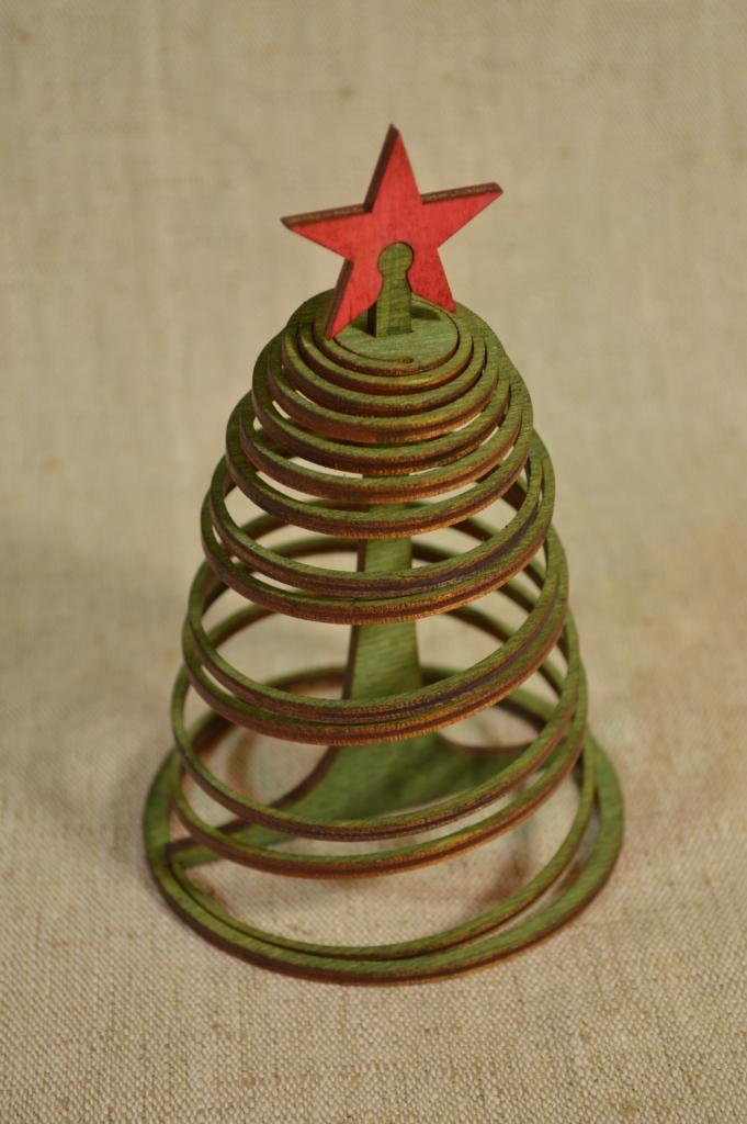 """картинка Новогодний сувенир """"Спиральная ёлка"""", арт.Ф00106 - подарки и декор из дерева - подереву.рф"""